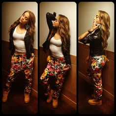 Floral pants and timberlands Dope Fashion, Fashion Killa, Urban Fashion, Tomboy Fashion, Dope Outfits, Fashion Outfits, Estilo Swag, Golden Barbie, Timberland Outfits