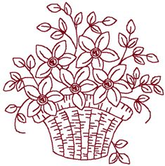 Redwork Embroidery Designs To Download | Redwork Basket of Wildflowers | Machine Embroidery Design