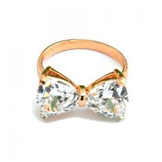 Chic Crystal Bowknot Ring For Women, GOLDEN, ONE SIZE in Rings   DressLily.com