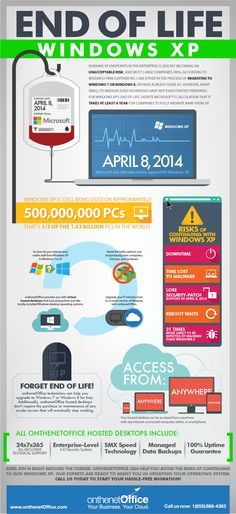End of Life - Windows XP. Have you done a Windows XP to Windowx 7 upgrade? #informationtechnology #infographic #change