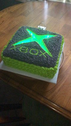 Xbox cake I made for my sons best friend's 10th birthday. It has led lights purchased on Amazon.
