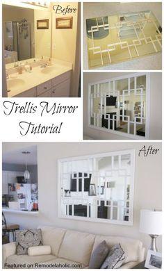 Build a Trellis Mirror from an old bathroom mirror Tutorial #mirror #tutorial