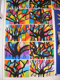 1st year banyan tree project - postive and negative space - black paint and oil pastel