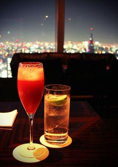 Park Hyatt rooftop bar in Tokyo. One drink is Scarlett's. The other is Bill's.