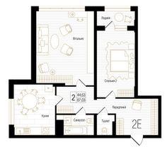ЖК New York Concept House: планировка 2-комнатной квартиры 87.03 м2, тип 2Е