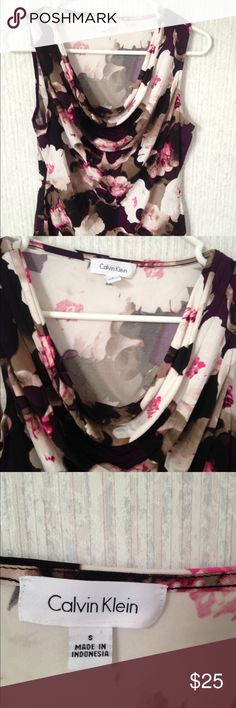 Calvin klein floral scoop neck sleeveless blouse Item is in great condition. Stored in a smoke free home. No rips, tears, holes, snags. Or stains. Calvin Klein Tops Blouses