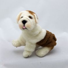 English Bulldog Puppy Wool Needle Felted by WoolSculptures on Etsy, $175.00