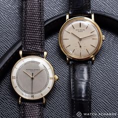 Birds of a Feather  // Two fantastic vintage gold dress watches - a two-tone @vacheronconstantin and a Patek Philippe 3429 // Available now at http://ift.tt/1qIwSwQ