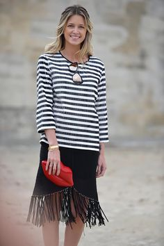 #HelenaBordon schooling us on chic striping in Paris.