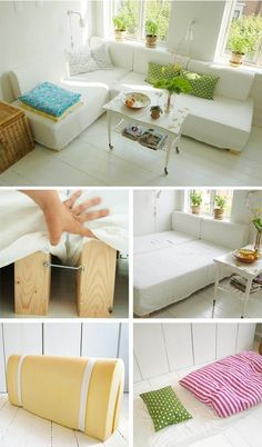 L-Shaped Couch or a Double Bed - This is a DIY project created using two foam mattresses that can be reconfigured to be a couch or a bed.