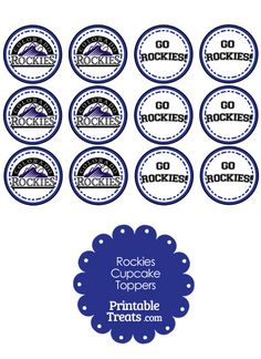Are the Colorado Rockies your favorite MLB team? If so, you'll love these Colorado Rockies cupcake toppers you can print and pop on top of cupcakes and party food picks. These Colorado Football Cheer, Seahawks Football, Seattle Seahawks, Baseball, Painting Kids Furniture, Bottle Cap Necklace, Cupcake Toppers, Cupcake Cakes, Giant Cupcakes