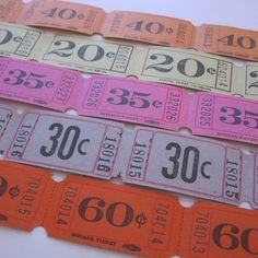 Vintage Ticket Stubs: Use these tickets to cover the edges of a mirror or photo frame creating a whimsical work of art for the nursery. Or incorporate them into the party games at his/her vintage circus birthday party.
