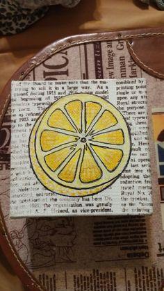 "Tiny lemon, acrylic on printed canvas 5""x5""x2"""