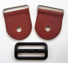 Guitar Strap Kits, Black,Tan or Brown Leather Guitar Tabs and Heavy Duty…