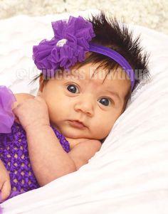 Dark Purple Tulle Baby Headband: Baby Headbands & Hair Bows at Princess Bowtique