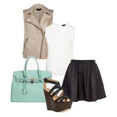 Add summer edge to your everyday look with a mint bag and leather vest. Perfect for a casual night out!
