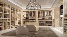 #Luxury contemporary #walk-in closet with beautiful island #dressing table and integrated #armchairs