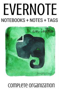 Introducción a Evernote: Aprende a crear tu primer cuaderno, nota y la etiqueta en Evernote y estar en su camino a completar organización.  // SimplifyDays.com