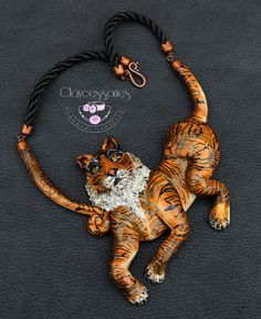 Tiger Necklace African Polymer Clay Jewelry by claycessories