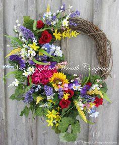 English Country Manor Garden Wreath ~A New England Wreath Company Designer Original~