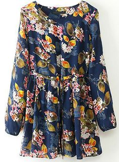 Blue Long Sleeve Drawstring Floral Pleated Dress US$28.33