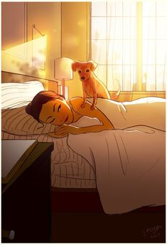 According to Christopher McCandless, happiness is only real when shared, but LA-based artist Yaoyao Ma Van As disagrees. To highlight this, she has created a colorful illustration series that celebrates the intimacy of living alone. Living With Dogs, Joy Of Living, Living Alone, Girl Cartoon, Cartoon Art, Alone Art, Dog Illustration, Website Illustration, Girl And Dog
