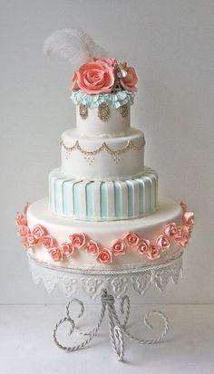 aqua, gold, and coral rose cake Wedding Cake Roses, Unique Wedding Cakes, Beautiful Wedding Cakes, Gorgeous Cakes, Wedding Cake Designs, Pretty Cakes, Amazing Cakes, Rose Wedding, Yellow Wedding