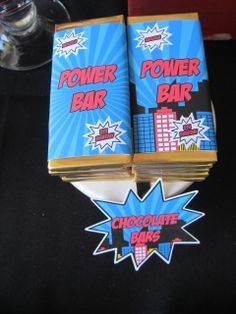 Candy bars at a SuperHeroes Birthday Party!  See more party ideas at CatchMyParty.com!