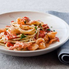 Linguine with Shrimp and Creamy Roasted Tomatoes // More Great Pastas: http://www.foodandwine.com/slideshows/one-dish-pastas #foodandwine