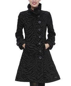 Black Zebra Asymmetrical Button Jacket