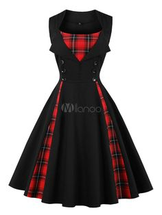 Women Vintage Dress Square Neckline Button Tartan Check Pleated Cotton Black Swing Dress