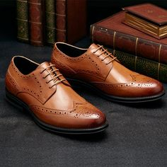 ee724148c1a0 Men Genuine Leather Brogue Carved Oxfords Pointed Toe Dress Shoes Robe Avec  Bottes, Chaussures Habillées