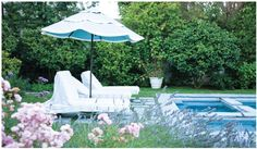 Two white (what else?) sun chairs are parked next to the water for daytime or nighttime relaxation. Shabby Chic Interiors, Shabby Chic Homes, Shabby Chic Style, Shabby Chic Patio, Shabby Chic Decor, Shabby Chic Home Accessories, Shabby Chic Couture, Shabby Chic Christmas, Outdoor Living