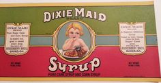 Original Vintage Dixie Maid Syrup Can Label Roddenbery Cairo, Georgia Large Size For Gallon Can by VintagePaperTrail on Etsy