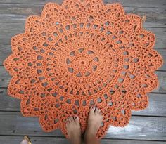 Rust Orange Patio Porch Cord Crochet Rug in 35 by byCamilleDesigns, $80.00