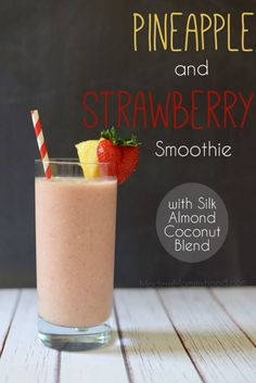 Want a delicious and refreshing smoothie? Try this Pineapple Strawberry Smoothie recipe with Silk Almond Coconut Blend! Super healthy and kids love it Frozen Fruit Smoothie, Pear Smoothie, Fruit Smoothie Recipes, Healthy Breakfast Smoothies, Strawberry Smoothie, Smoothie Drinks, Frozen Strawberry Recipes, Silk Almond Milk, Smoothies With Almond Milk