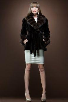 Brown Sheared Mink and Chinchilla Fur Jacket