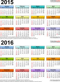 [Full Size Planner] Word template for 2-year calendar 2015/2016 (portrait orientation, 1 page, in color) | Calendarpedia → Other versions available!