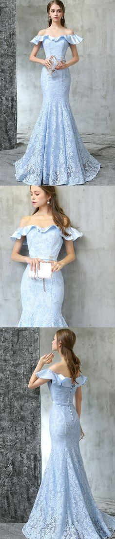 Off-the-Shoulder Neck Appliques Prom Dresses,Floor Length Dresses