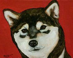 MARCH MADNESS SALE Original Shiba Inu Dog Art Acrylic Painting 8x10 Pet Portrait #Realism