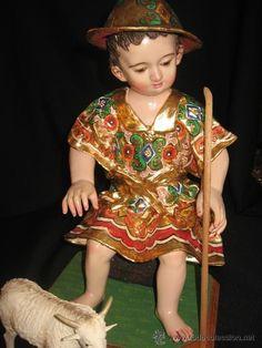 NIÑO JESUS EN PAN DE ORO SENTADO  (Antigüedades - Decoración - Figuras Antiguas)