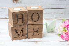 Kerzenständer - kerzenständer HOME Holzkerzenständer kerzenhalter - ein Designerstück von HappyWeddingArt bei DaWanda