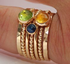Nadines unique stackable wedding/engagement rings & bangles — Peridot, Citrine, Sapphire Stackable 14k Gold Filled Birthstones Mothe