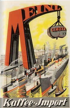 Original 1920s Mihaly Biro Meinl Coffee Poster Austria
