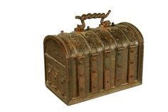 A French wrought iron Jewellery Casket, the domed lid with swing handle, hinges straps concealing 5 keyholes, late 16th century.