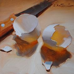 "Daily Paintworks - ""Split Shells"" - Original Fine Art for Sale - © Elena Katsyura Daily Painters, Still Life Oil Painting, Egg Art, Still Life Art, Fine Art Gallery, Painting Inspiration, Art For Sale, Flower Art, Painting & Drawing"