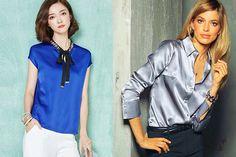 combinar prendas de raso y blusas