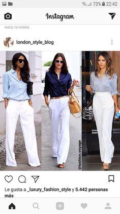 7f797d511a09 Aprende cómo combinar tus pantalones blancos con estos 18 outfits de moda ~  Manoslindas.com