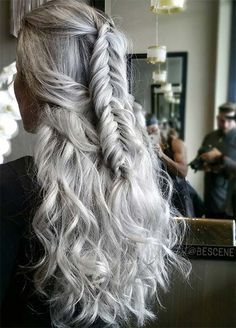 Granny Silver/ Grey Hair Color Ideas: Silver Gray Braided Hair