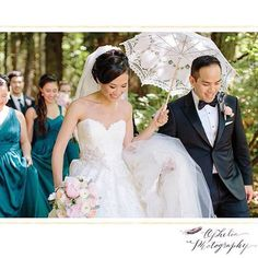 """great vancouver wedding Another beautiful shot of K+S after they said """"I Do"""". I am in love with her beautiful parasol, it goes perfectly with her gorgeous dress. So honoured to have been a part of their special day. #alldolledupmakeupandhair #love #weddingday #bridal #makeupartist #hairstylist #brideandgroom #bridalparty #bridesmaids #vancouverbride #vancouvermakeupartist by @alldolledupstudio  #vancouverwedding #vancouverweddingmakeup #vancouverwedding"""